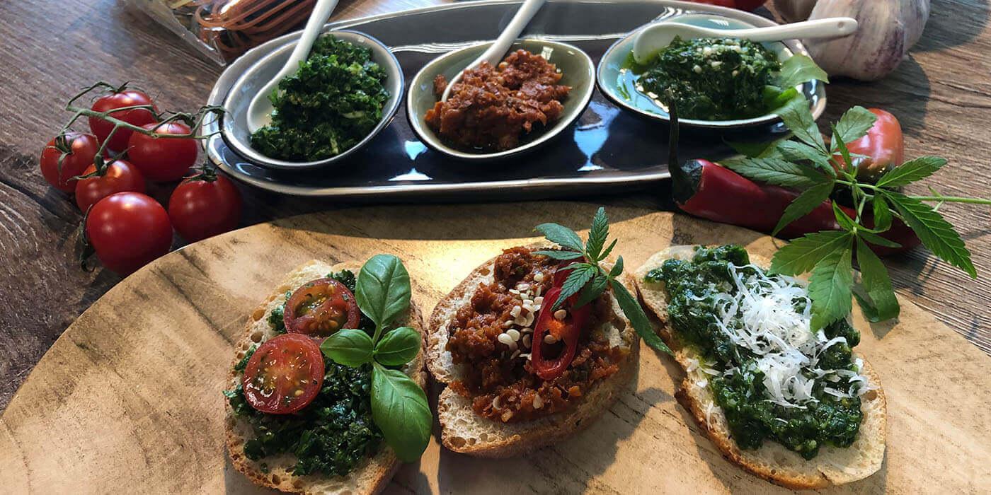 Pestos und Gremolata mit Hänflingen und dem Besten des Samens